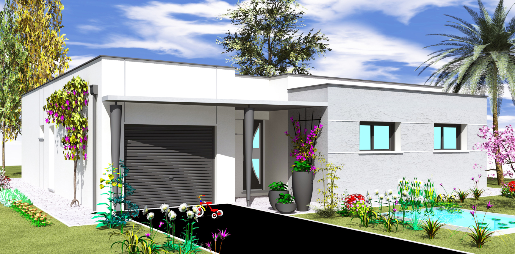 Perspectives de maisons constructeur deux s vres for Maison plain pied contemporaine