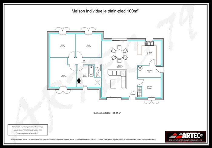 plan de maison individuelle de plain-pied
