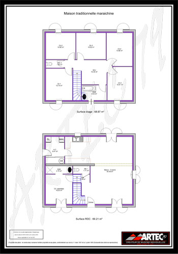 plan maison 100m2 4 chambres etage. Black Bedroom Furniture Sets. Home Design Ideas