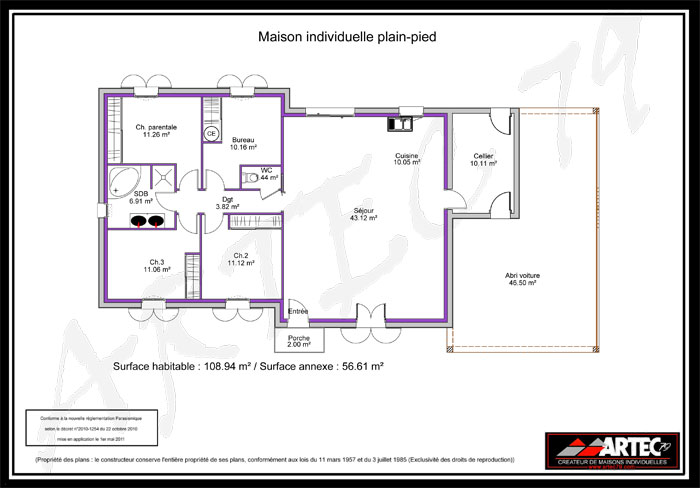 Plan de maison 100m2 4 chambres for Plan maison contemporaine 100m2