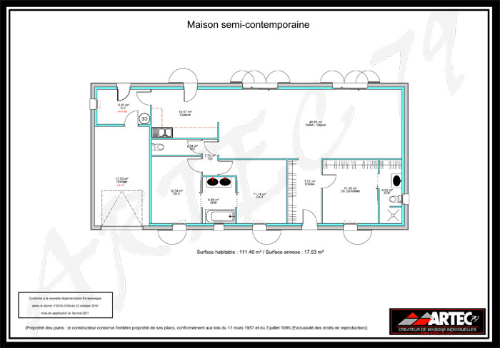 plan maison semi-contemporaine