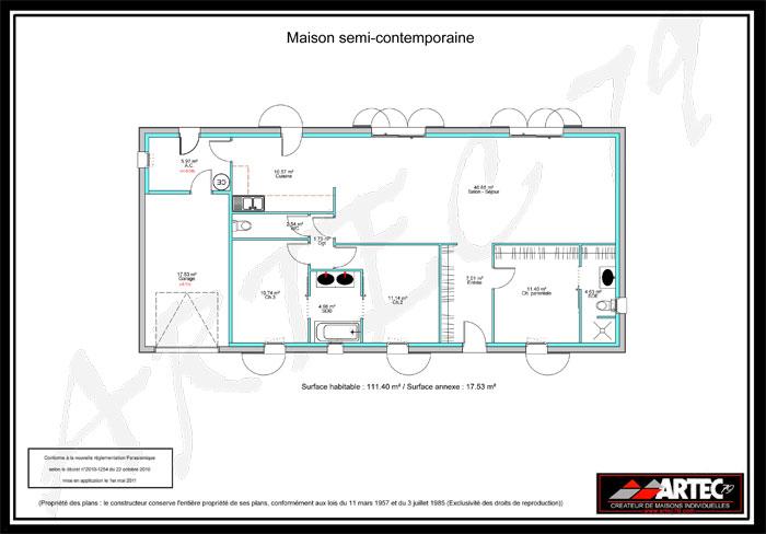 plan maison semi-contemporaine