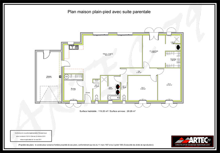 plan maison plain pied 3 chambres avec suite parentale et. Black Bedroom Furniture Sets. Home Design Ideas