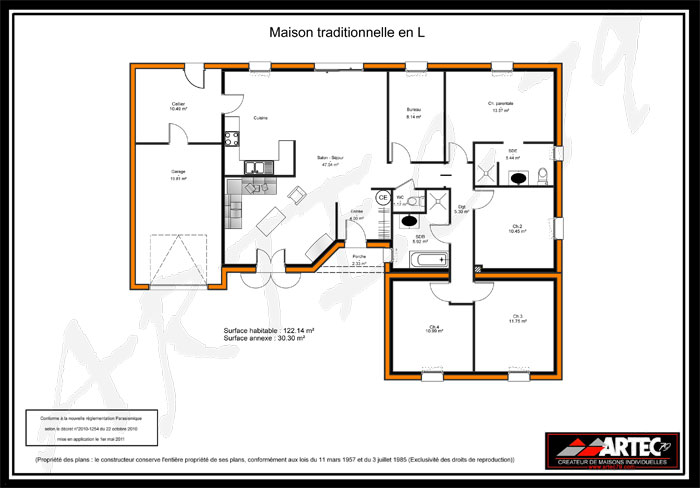 Plan maison en l for Plan de maison traditionnelle gratuit