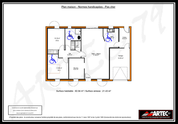 Plan maison handicape for Plan de maison zone llc