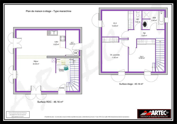plan de maison maraichine à étage