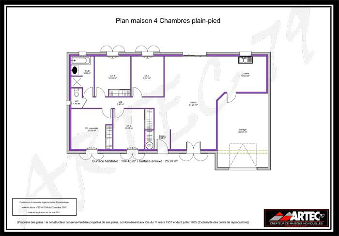 plan de maison de plain-pied 4 chambres
