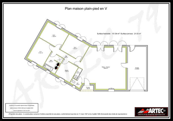 plan de maison plain-pied en V
