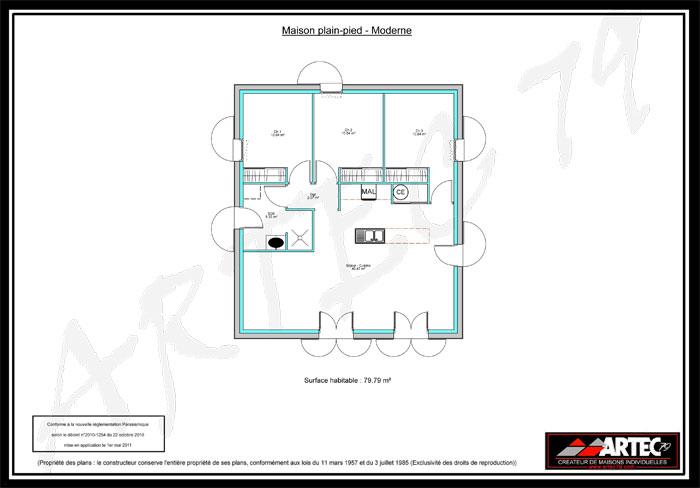 plan maison plain pied 3 chambres 75m2