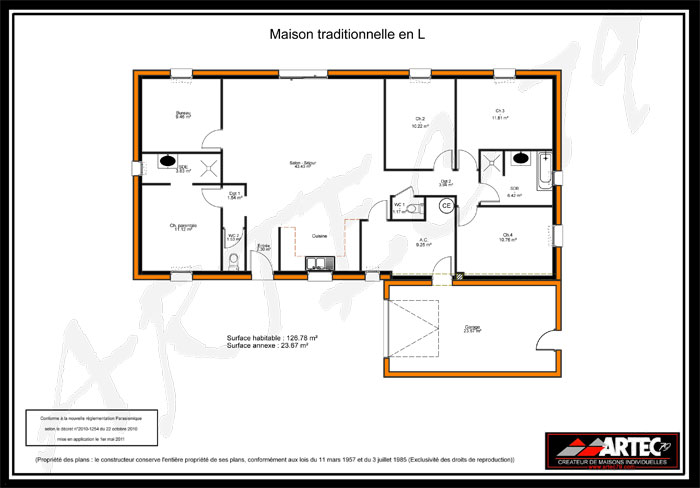 plan de maison traditionnelle en L