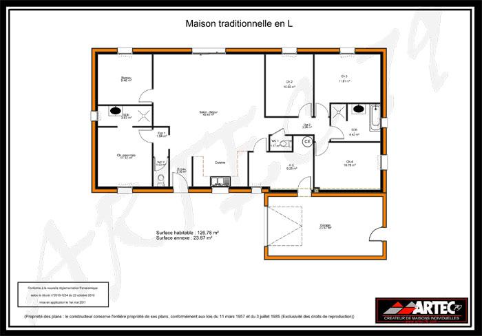 plan de maison traditionnelle en L