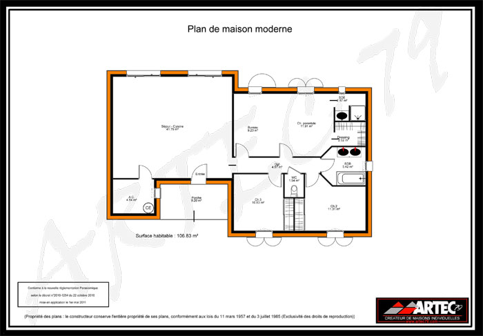 Plan maison moderne 100m2 images for Plan pavillon plain pied