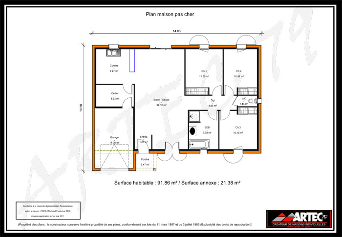 Plan maison plain pied 120m2 images for Plan pavillon plain pied