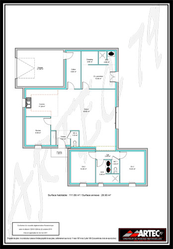 plan de maison plain pied 100m2 3 chambres. Black Bedroom Furniture Sets. Home Design Ideas