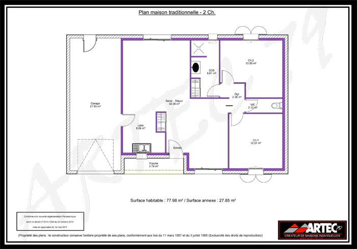 plan maison traditionnelle