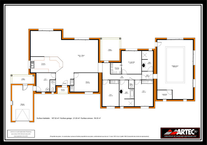 Plan de maison contemporaine en u np18 jornalagora for Plan maison moderne en l
