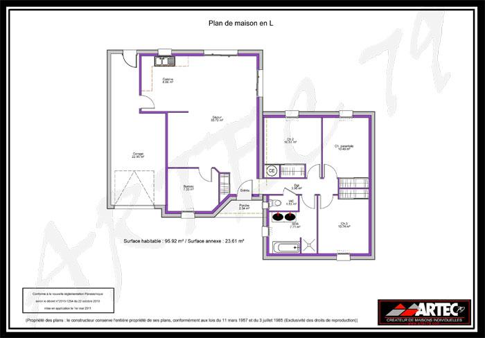 plan maison plain-pied en L