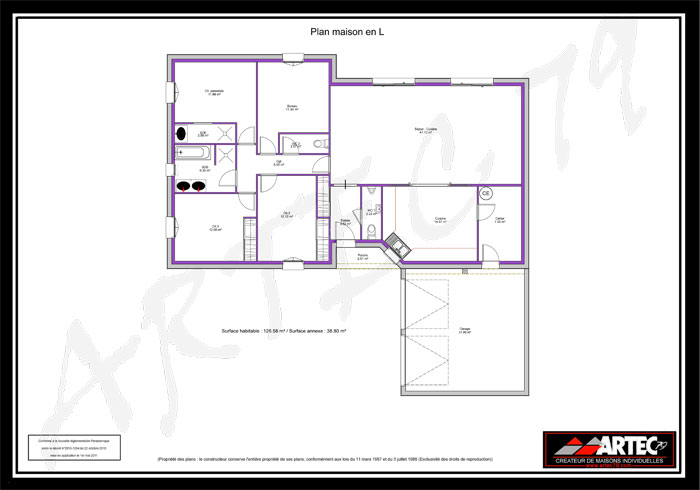 Plan maison en l 120m2 images for Plan maison moderne en l