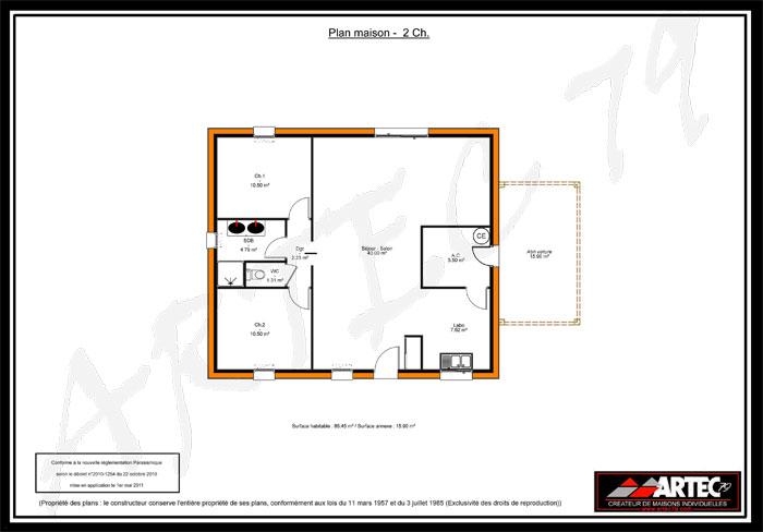 Plan De Maison Gratuit 2 Chambres Infos Et Ressources 7