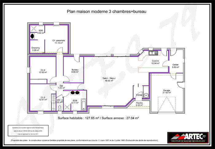 Plan d 39 une maison a 3 chambres un salon for Plan maison contemporaine 3 chambres