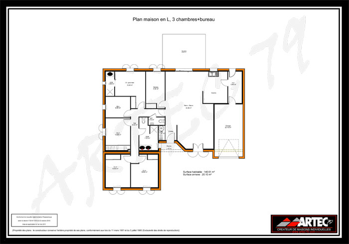 Great plan de maison m en v photo n plan maison plein for Prix maison neuve 100m2 plein pied
