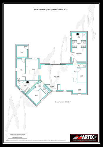 Plan Maison En U Ouvert A Toit Plat Avec 6