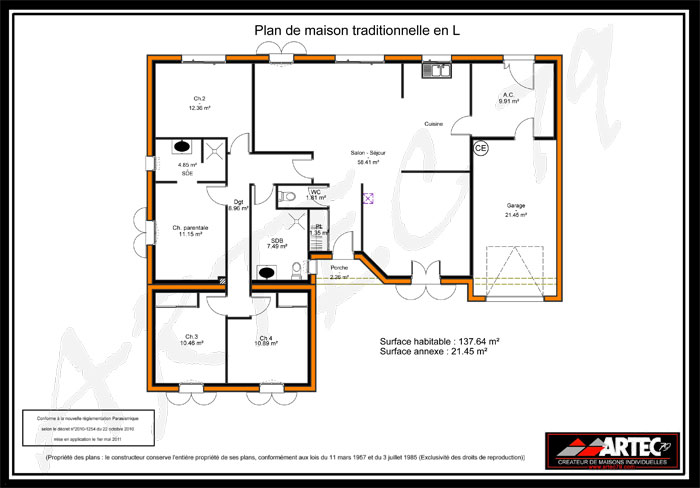 Exemple plan maison 4 chambres for Modele plan maison